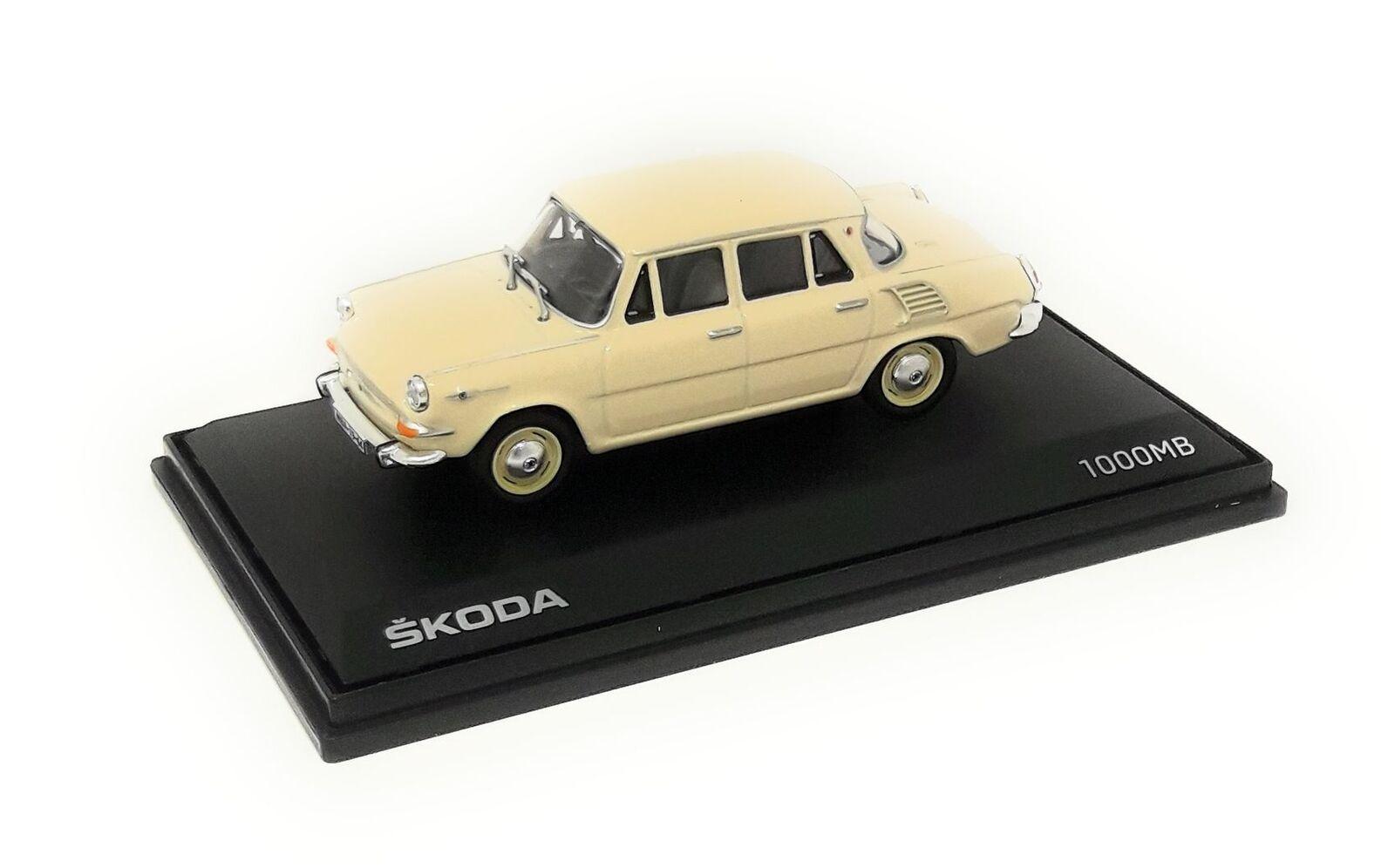 Abrex Model Car DieCast DieCast DieCast 1 43 Skoda 1000 MB Beige 1964 plastic display case 740dbb