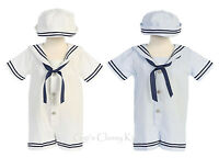 Baby Boys Seersucker Cotton Sailor Nautical Romper Outfit 2 Pc Set Hat G255