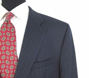 Izod-Blazer-50-Navy-Blue-Pinstripe-All-Season-Wool-Jacket-R-Length-S-Sleeves