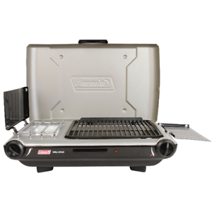 Coleman Tabletop Propane Gas Camping 2-in-1 Grill/Stove 2-Burner, Gray