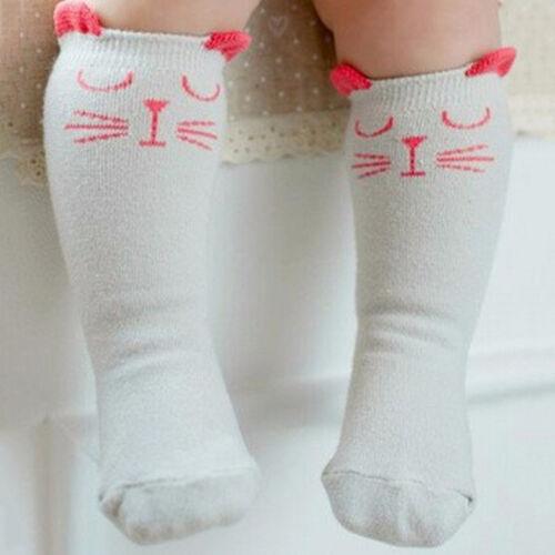 Hot Newborn Toddler Knee High Sock Baby Boy Girl Socks Anti Slip Cute Cat S-M SL