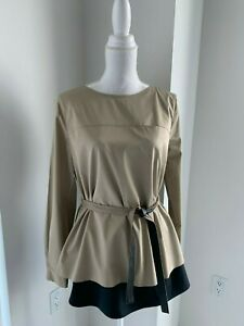 Elie Tahari Layered Camel Brown & Black Belted Cotton Tunic Shirt Blouse SZ M