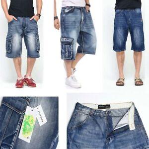 Mens Loose Denim Cargo Short Denim Hip Hop baggy Pants Shorts Jeans ... b8a891313504