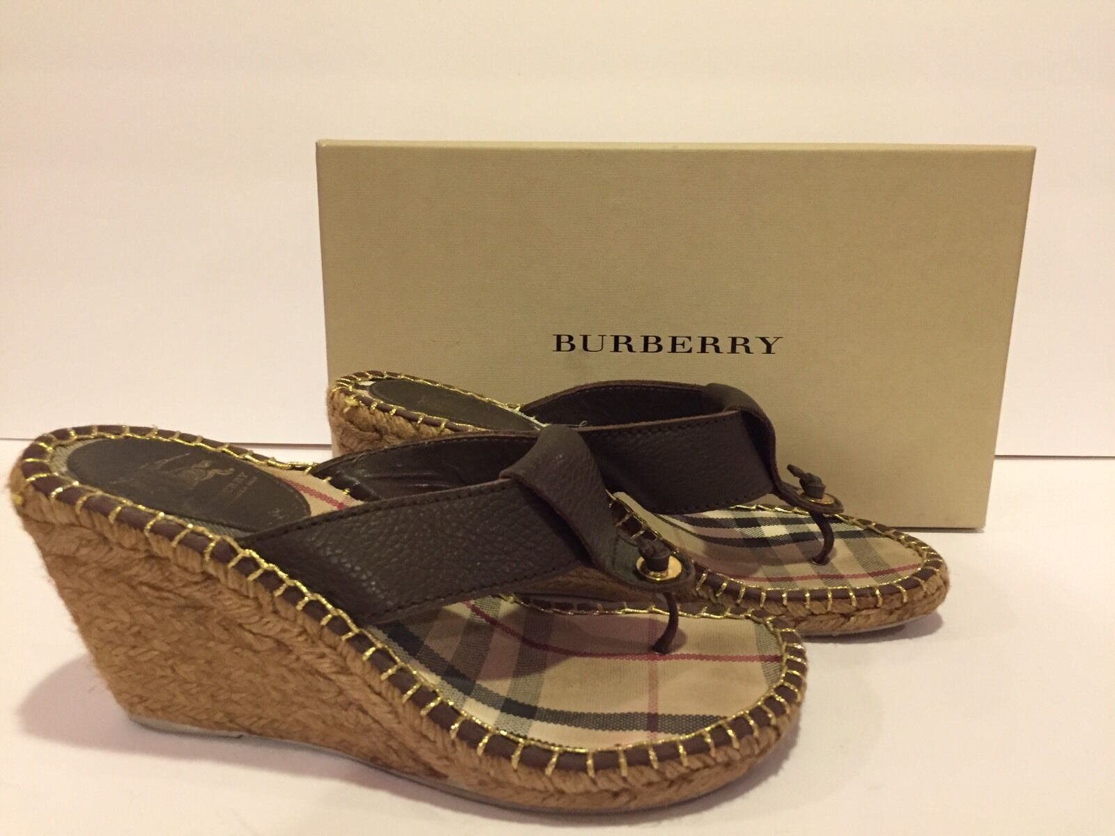 Burberry Sandals Wedge Slides Espadrille Thong Leather Brown 38/ 8 In Box