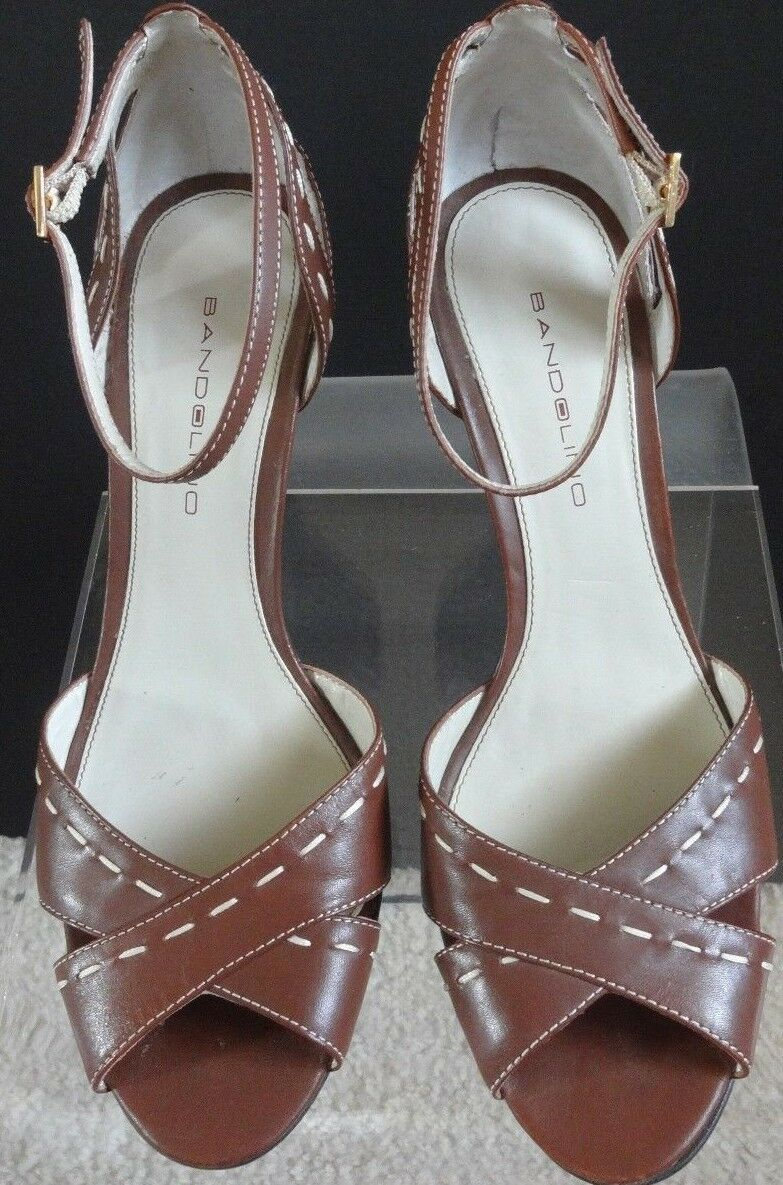 Bandolino Brown Strap Leather Open Toe Ankle Strap Brown Heels size 8 1222b9