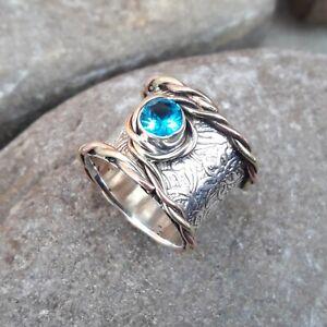 Blue-Topaz-Solid-925-Sterling-Silver-Band-Meditation-Statement-Ring-Size-M421