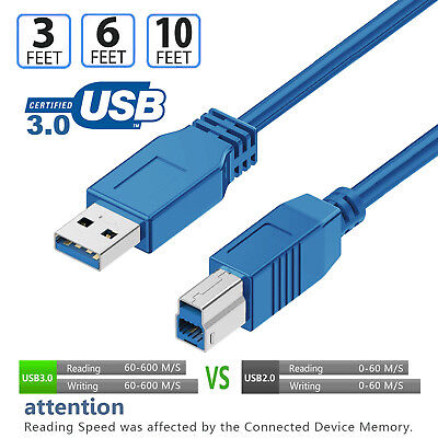 High-speed USB3.0 Printer Scanner Cable 3ft 6ft 10ft Type A Male to Type B Male