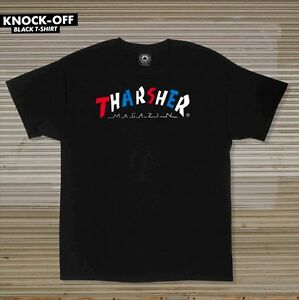 Thrasher Magazine KNOCK OFF LOGO Skateboard Shirt BLACK LARGE