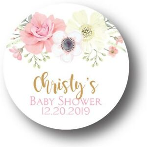30-Boho-Floral-Girl-Baby-Shower-Personalized-Favors-Treat-Bag-Stickers