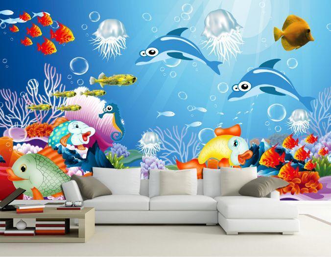 3D Schöne freche Fisch 244 Fototapeten Wandbild Fototapete BildTapete Familie