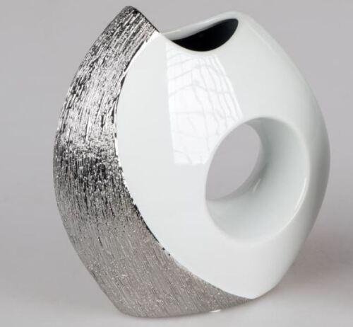 701862 Vase With Hole 16cm Design Designer Vase From Glazed White