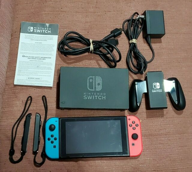 Complete Working Nintendo Switch V2 32GB Red Blue Console Extended Battery