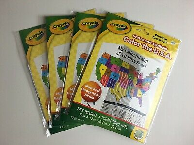 Crayola Color the USA States /& Symbols Coloring Maps Age 5+ 6 Double-Sided
