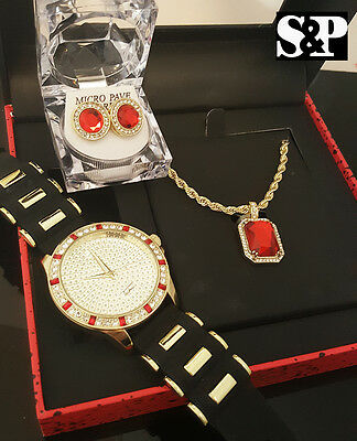 MENS HIP HOP ICED OUT GOLD PT CZ WATCH & RUBY NECKLACE & EARRINGS GIFT COMBO SET