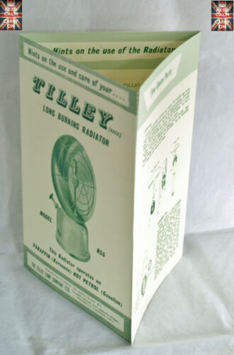 TILLEY LAMP R55 RADIATOR HOW TO USE LEAFLET