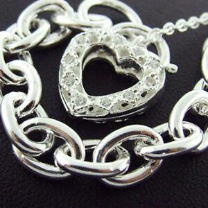 BRACELET-GENUINE-REAL-925-SOLID-STERLING-SILVER-DIAMOND-SIMULATED-HEART-PADLOCK