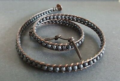 Fashion Jewelry Black Lava Brown Leather Triple Wrap Bracelet/anklet In Pain