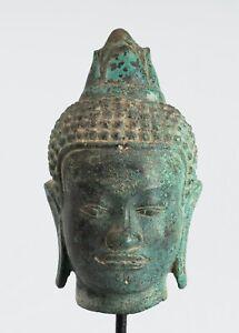 Antiguedad-Khmer-Estilo-Montado-Bronce-Enlightenment-Buda-Estatua-20cm-20-3cm
