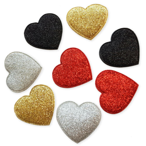 6pcs Glitter Padded Heart Craft Embellishments Scrapbooking Cardmaking Accessory