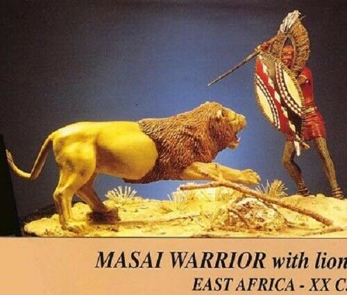 early 20ème-resin figurine 90 mm trilion ref Maasai warrior and lion 90//01