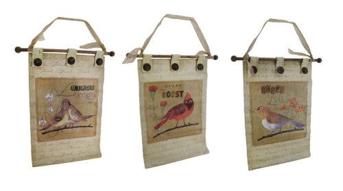 Zeckos 3 Pc. Canvas Botanical Birds Wall Hanging Set w/Buttons