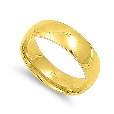 .316L STAINLESS STEEL HIGH POLISH & Gold Plated  WEDDING BAND DESIGN PLAIN RING