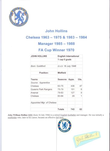JOHN HOLLINS CHELSEA 196375 & 198384 MGR 198588 ORIGINAL HAND SIGNED CUTTING