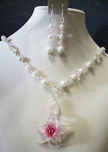 HAND-MADE-GLASS-PEARL-CRYSTAL-NECKLACE-W-GLASS-STARFISH-PENDANT-EARRINGS