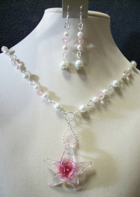 HAND MADE GLASS PEARL/CRYSTAL NECKLACE W/GLASS STARFISH PENDANT/EARRINGS