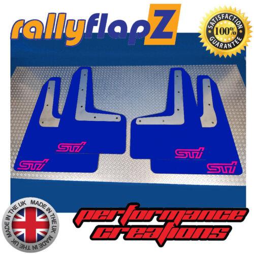 Qty4 Inc Fixings Blue Logo Pink 4mm PVC Mudflaps Subaru Impreza WRX STi 2014
