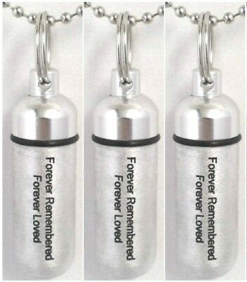 """Set of 3  /""""Forever Remembered Forever Loved/"""" CREMATION URN Necklaces w//Pouches"""