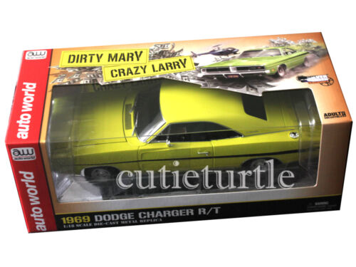 Autoworld 1969 Dodge Charger R/T 1:18 Dirty Mary Crazy Larry Yellow AWSS101