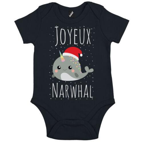BATCH1 JOYEUX NOËL NARWHAL CHRISTMAS BABIES FESTIVE XMAS SHORT SLEEVE BABYGROW