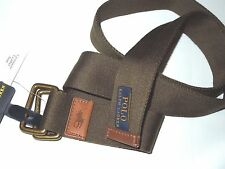 Polo Ralph Lauren men's  olive leather & canvas O ring  BELT size MEDIUM