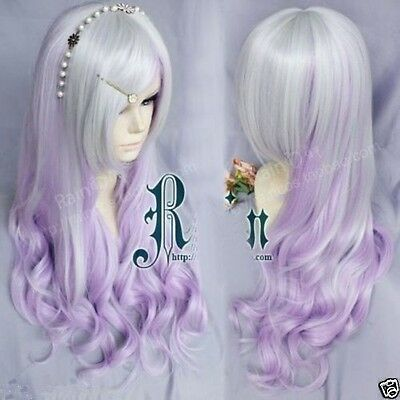 New Long Wavy Silver white + purple cosplay party hair Wig+gift of earrings