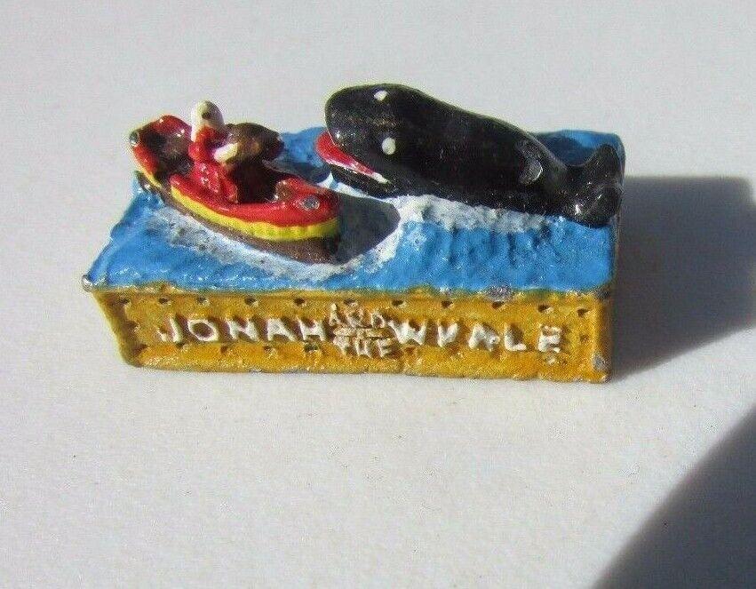 Casa de muñecas en miniatura Hierro Fundido Jonas y la ballena Pintado a Mano 1981 PA