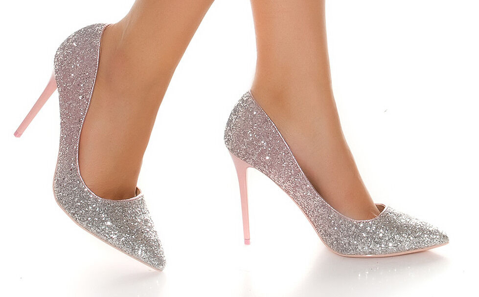 DAMEN PUMPS HIGH HEEL CLUP GLITZERPUMPS DAMENSCHUHE BI-COLOR SILBER ROSA 38-41