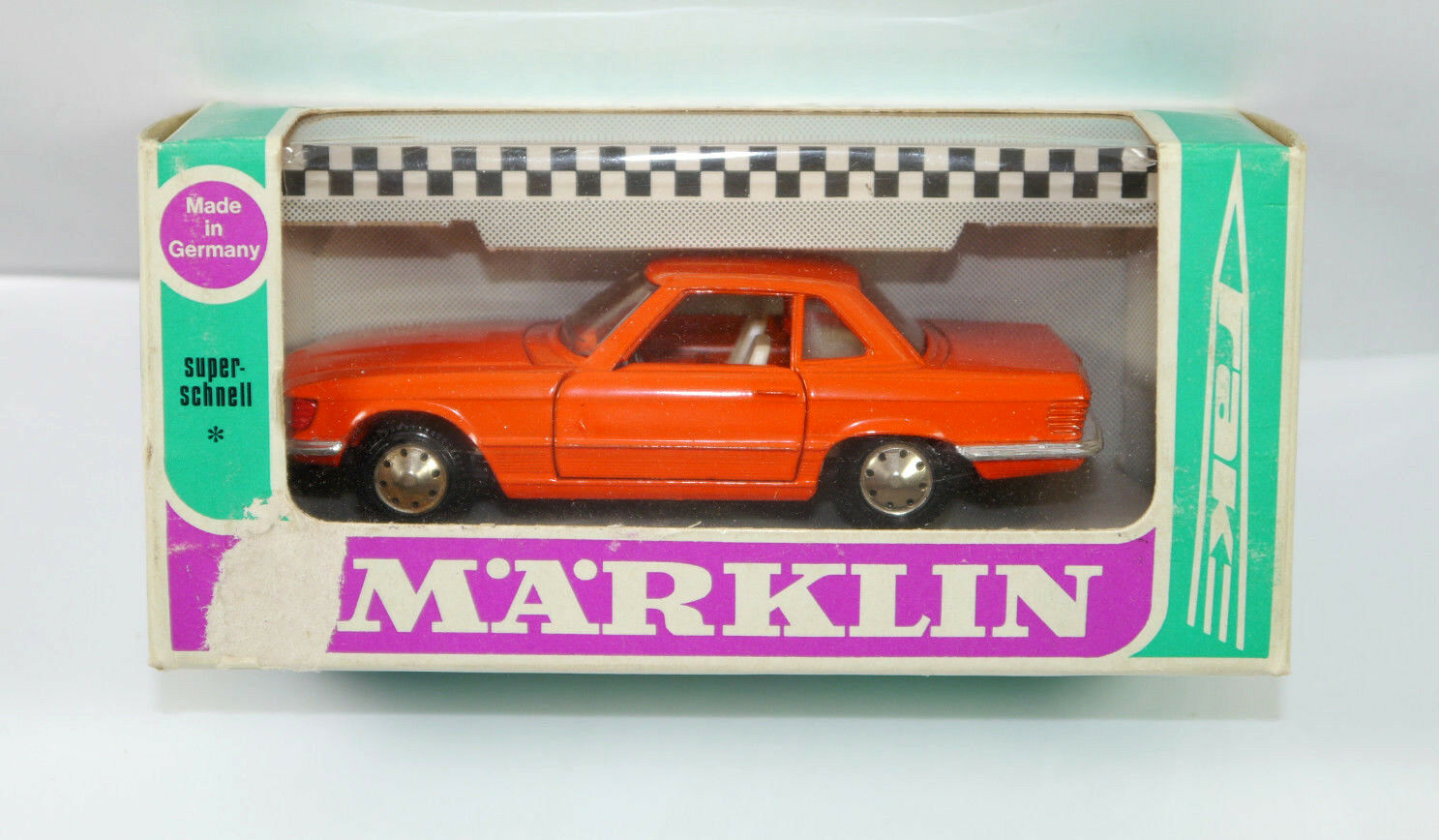 Märklin 1839 Mercedes 350 Sl orange Metal Model Car 1 43 Boxed (K36)
