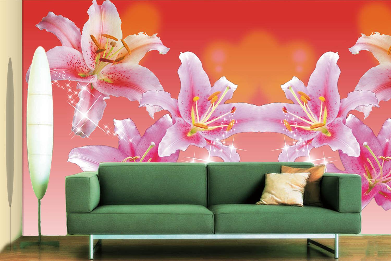 Papel Pintado Mural De Vellón Brillante Lirio Flores 3 Paisaje Fondo De Pansize