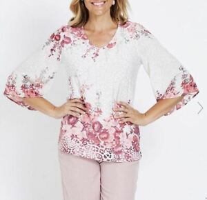 MILLERS-Blouse-Plus-Size-12-14-16-18-24-Top-Shirt-Pink-3-4-Sleeve-Floral