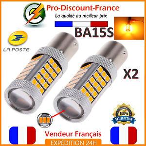 2-x-ampoule-63-LED-BA15S-1156-P21W-ORANGE-VOITURE-Feux-Jour-SMD-Clignotant