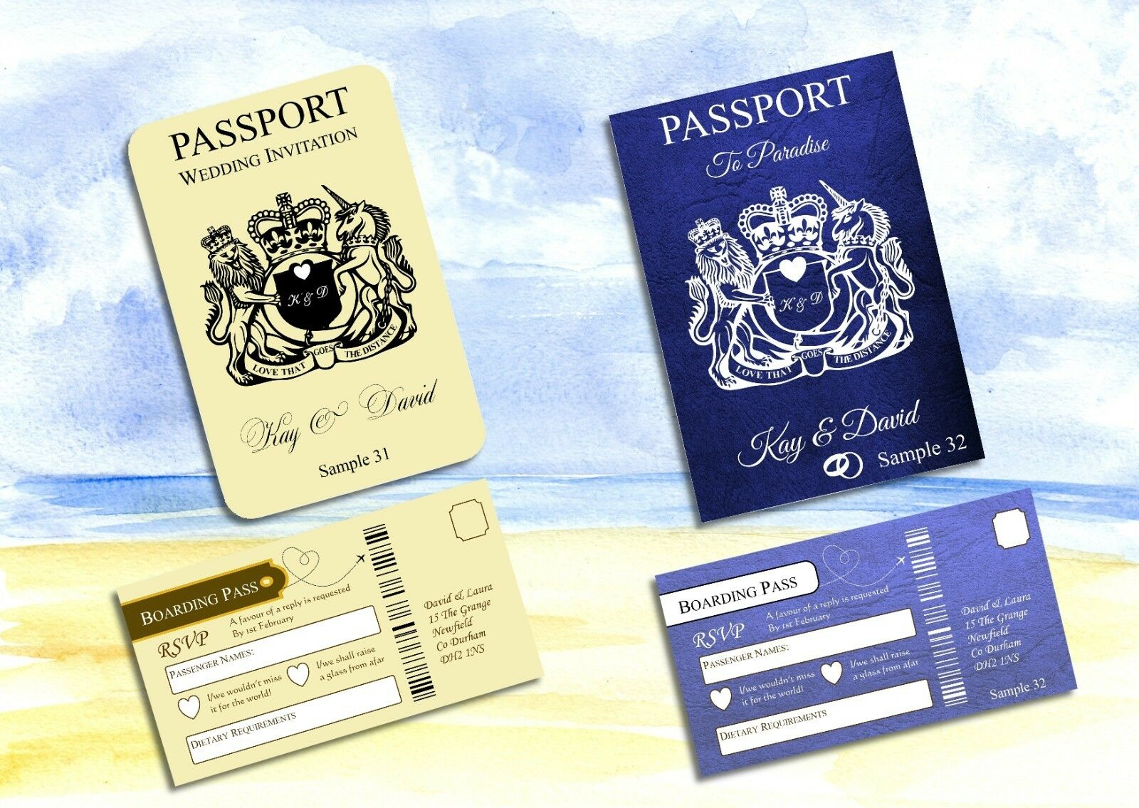 Personalised Passport Wedding Invitation  8 Page - With RSVP Cards