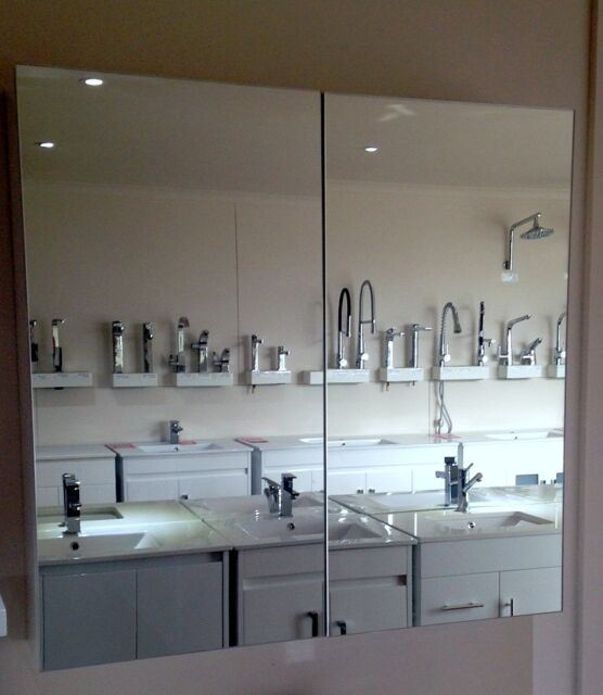 900mm Pencil  Edge Shaving Cabinet with 2 Mirror Doors
