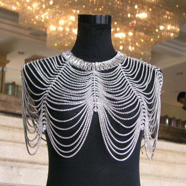 Wedding Bridal Crystal Rhinestone Shoulder Body Chain Collar Necklace Jewelry