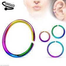 "Nose Hoop Split Ring Annealed 20 Gauge 5/16"" Titanium Rainbow Body Jewel"