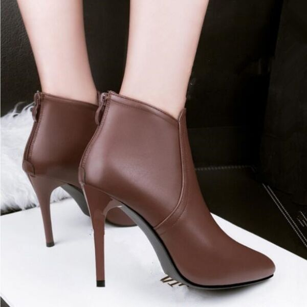 stivali stivaletti stiletto bassi marrone spillo eleganti 10 cm simil pelle 8002