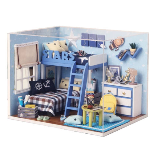 DIY 3D Box Theatre Dollhouse Miniature Puzzle Kits w//LED /& Dust Cover Toy Gifts