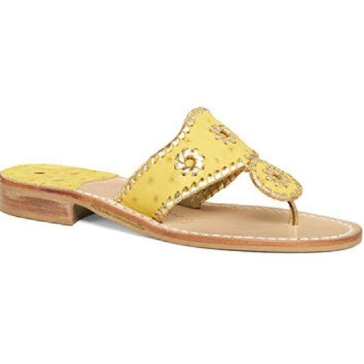 Nuovo Jack Rogers Esclusivo Decorato Struzzo oro Giallo Sandali di Cuoio Basse 5   Costi Moderati    Uomini/Donna Scarpa