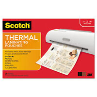 Scotch Menu Size Thermal Laminating Pouches 3 Mil 17 1/2 X 11 1/2 25 Per Pack