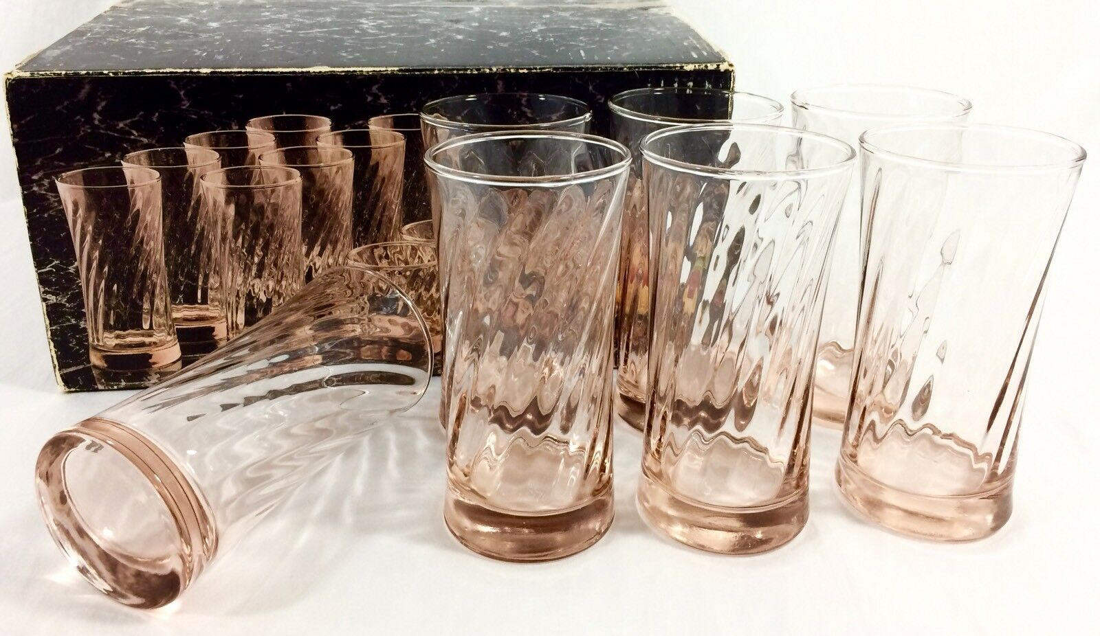 7 le Toscany Collection Sierra rose optic Swirl verre 17 oz (environ 481.93 g) gobelets vintage USA Difficile à trouver